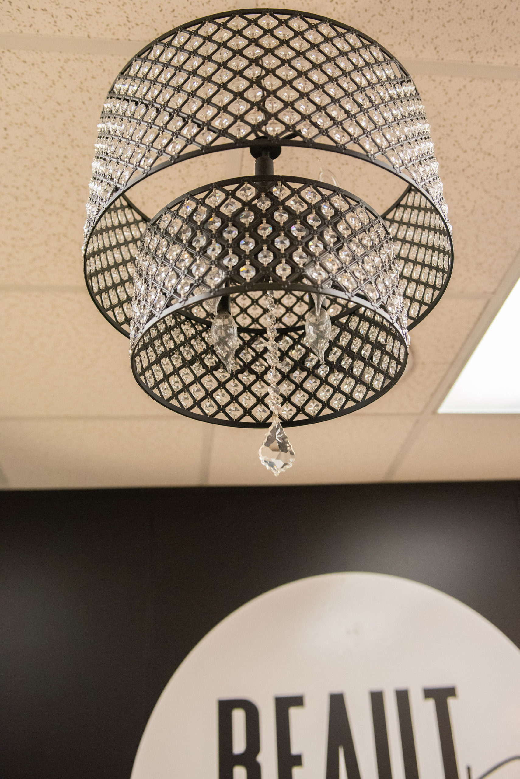 silver chandelier hanging from ceiling