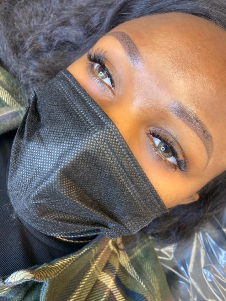 closeup of a woman's eyebrows