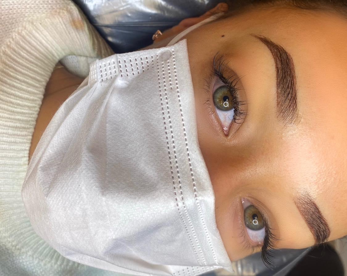 closeup of a beautiful woman's brows